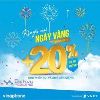 Vinaphone khuyến mãi 20% giá trị thẻ nạp ngày vàng 10/7/2018 trên toàn quốc