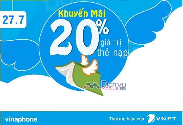 Vinaphone khuyến mãi 20% thẻ nạp ngày vàng 27/7/2018