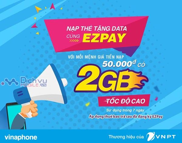 Vinaphone khuyến mãi nạp thẻ tặng data cho thuê bao trả sau ngày 20/7/2018