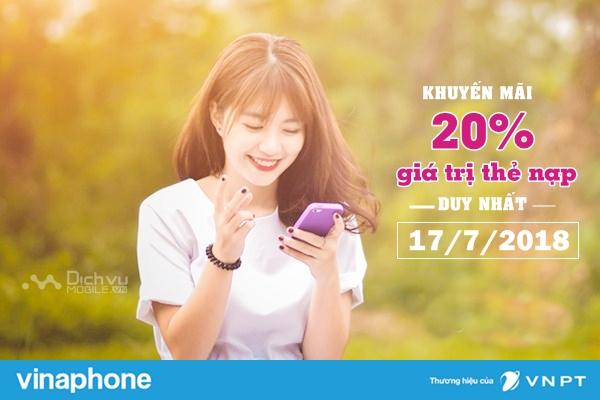 Vinaphone khuyến mãi 20% thẻ nạp ngày vàng 17/7/2018
