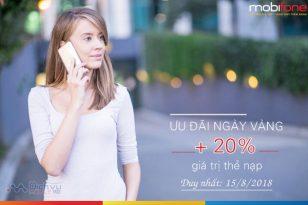 Mobifone khuyến mãi thẻ nạp ngày vàng 15/8/2018