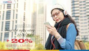 Mobifone khuyến mãi 20% thẻ nạp ngày 22/8/2018