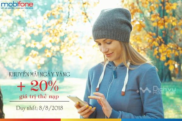 Mobifone khuyến mãi 20% thẻ nạp ngày 8/8/2018