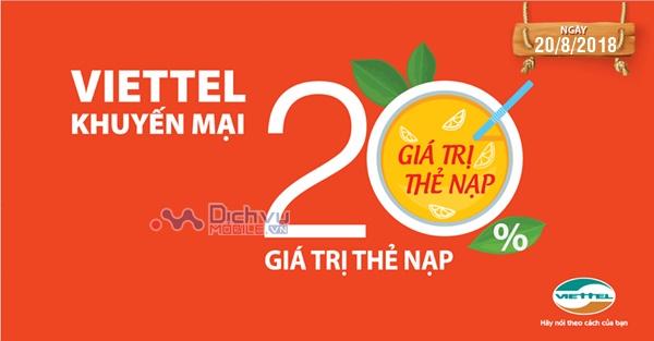 Viettel khuyến mãi tặng 20% giá trị thẻ nạp ngày 20/8/2018 cho thuê bao trả trước