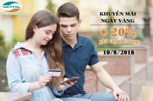 Viettel khuyến mãi 20% thẻ nạp toàn quốc ngày 10/8/2018