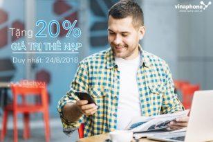 Vinaphone khuyến mãi 20% thẻ nạp ngày 24/8/2018