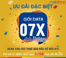 Gói cước 4G 07X Mobifone ưu đãi 2,7GB chỉ 27,000đ cho thuê bao 10 số 07x