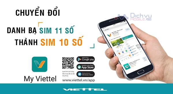 Hướng dẫn đổi danh bạ sim 11 số về 10 số cho người thân mạng Viettel