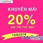 Mobifone khuyến mãi 20% thẻ nạp ngày 19/9/2018 trên toàn quốc