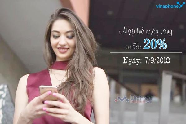 Vinaphone khuyến mãi 20% thẻ nạp ngày 7/9/2018