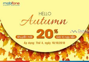 Mobifone khuyến mãi 20% thẻ nạp ngày vàng 10/10/2018 trên toàn quốc
