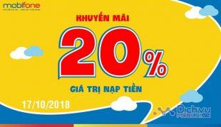 Mobifone khuyến mãi 20% thẻ nạp trả trước ngày vàng 17/10/2018