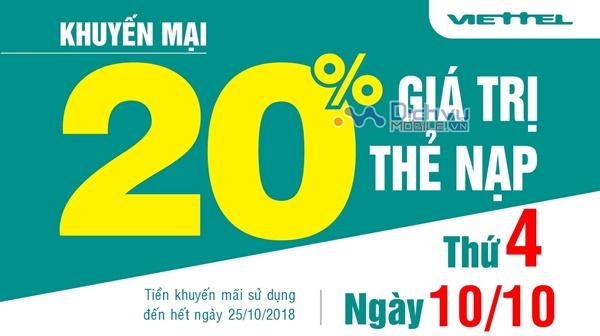 Viettel khuyến mãi 20% giá trị thẻ nạp ngày 10/10/2018