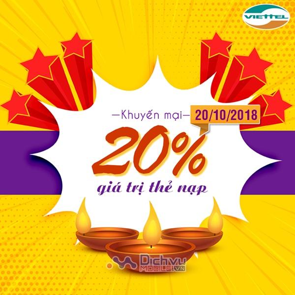 Viettel khuyến mãi 20% thẻ nạp 20/10 chào ngày phụ nữ Việt Nam