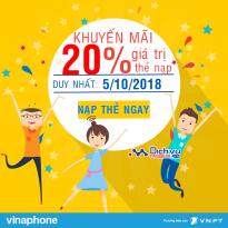 Vinaphone khuyến mãi tặng 20% thẻ nạp ngày vàng 5/10/2018