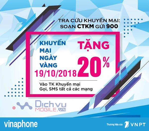 Vinaphone khuyến mãi 20% thẻ nạp ngày vàng 19/10/2018