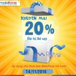 Mobifone khuyến mãi tặng 20% thẻ nạp ngày vàng 14/11/2018