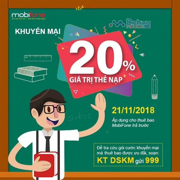 Mobifone khuyến mãi tặng 20% thẻ nạp ngày vàng 21/11/2018