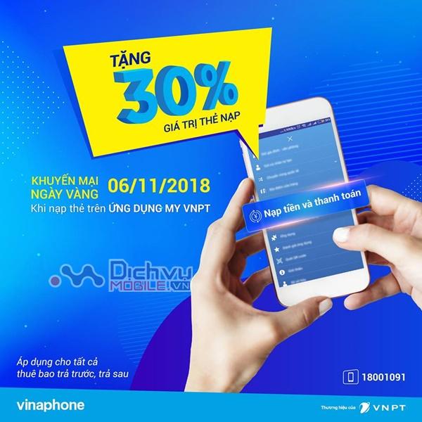 Vinaphone phá rào khuyến mãi 30% giá trị thẻ nạp ngày 6/11/2018
