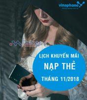 Lịch khuyến mãi nạp thẻ mạng Vinaphone tháng 11/2018