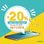 Viettel khuyến mãi tặng 20% thẻ nạp ngày vàng 10/11/2018