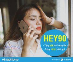 Đăng ký gói cước HEY90 Vinaphone nhận combo 5GB và 1020 phút thoại