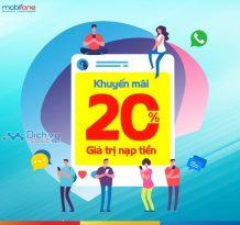 Mobifone khuyến mãi tặng 20% thẻ nạp ngày vàng 12/12/2018
