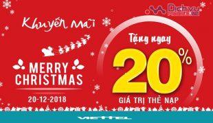 Đón giáng sinh: Viettel khuyến mãi 20% giá trị thẻ nạp ngày 20/12/2018