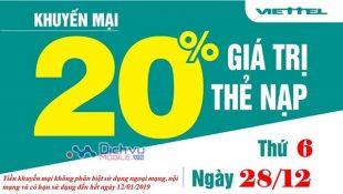 Viettel khuyến mãi 20% giá trị thẻ nạp ngày vàng 28/12/2018