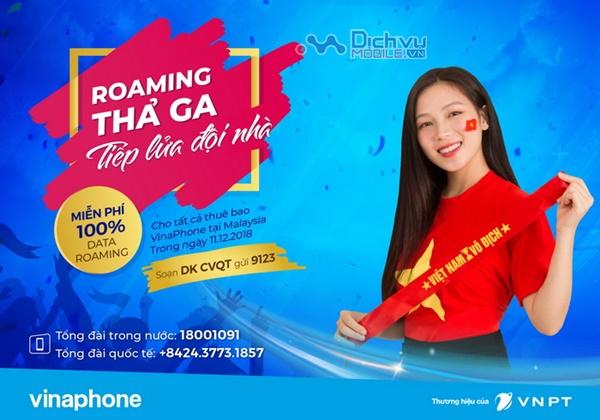 VinaPhone miễn 100% Data roaming cho khách hàng tại Malaysia ngày 11/12/12018
