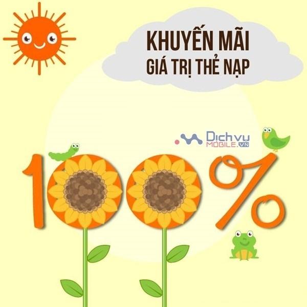 Vietnamobile khuyến mãi 100% giá trị thẻ nạp ngày 21/2/2019