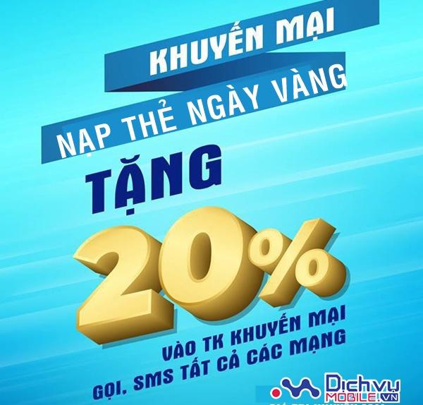 Vinaphone khuyến mãi tặng 20% thẻ nạp ngày vàng