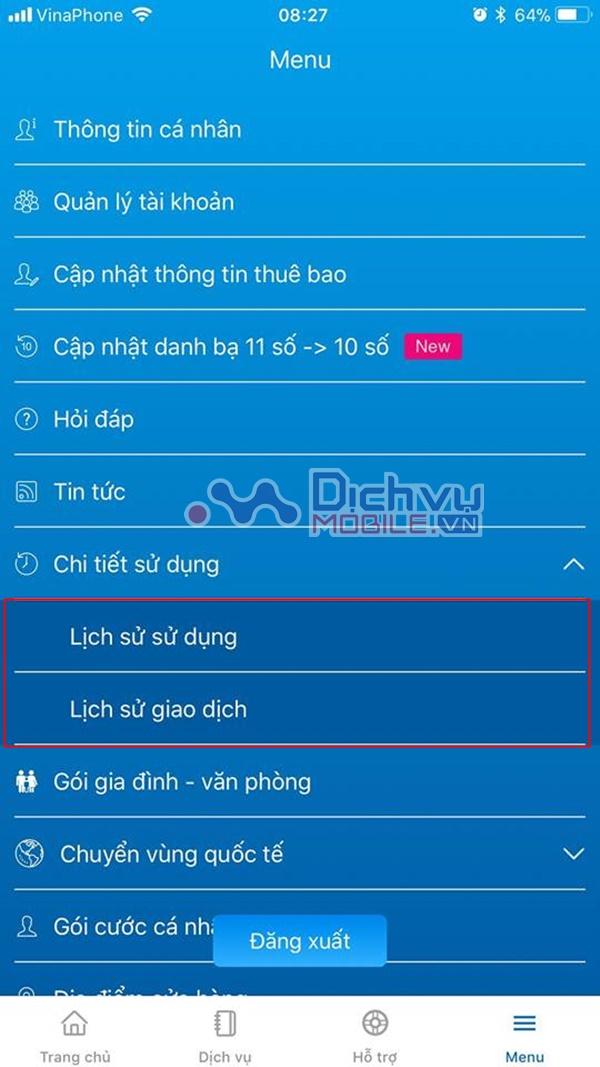 Cách tra cứu cước sử dụng thông qua ứng dụng My VNPT mạng Vinaphone