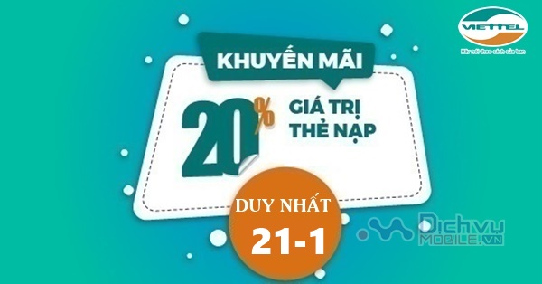 Viettel khuyến mãi 20% giá trị thẻ nạp trong ngày vàng 21/1/2019