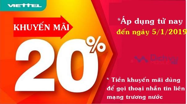 Viettel khuyến mãi 20% thẻ nạp không giới hạn ngày dùng từ nay đến 5/1/2019