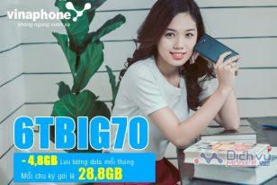 Cách đăng ký gói 6TBIG70 Vinaphone nhận 28.8GB dùng 6 tháng liên tiếp