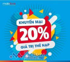 Mobifone khuyến mãi tặng 20% thẻ nạp ngày vàng 6/3/2019