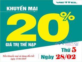 Viettel khuyến mãi 20% giá trị thẻ nạp ngày vàng 28/2/2019