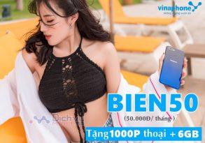 Đăng ký gói BIEN50 Vinaphone nhận 6GB và 1000 phút thoại chỉ 50,000đ
