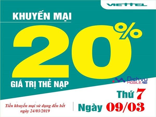 Viettel khuyến mãi 20% giá trị thẻ nạp ngày vàng 9/3/2019