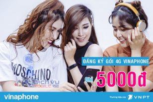 Đăng ký các gói 4G Vinaphone 5000đ nhận từ 200MB đến 2GB