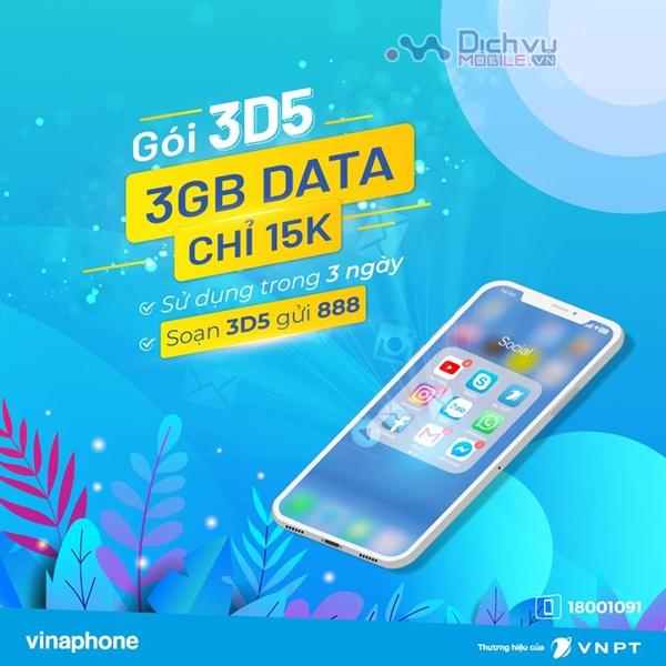 Đăng ký gói cước 3D5 Vinaphone nhận 3GB dùng trong 3 ngày