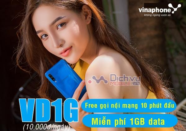 Đăng ký gói VD1G Vinaphone nhận 1GB và Free gọi nội mạng chỉ 10K