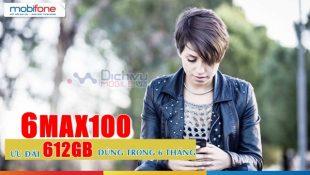 Đăng ký gói cước 6MAX100 Mobifone nhận 612GB lưu lượng