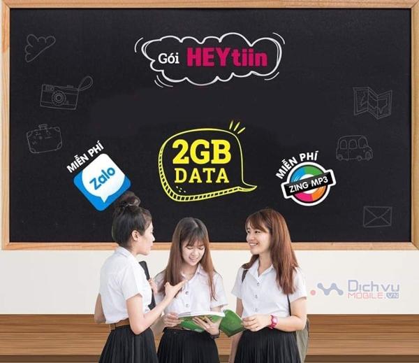 Đăng ký gói cước Heytiin Vinaphone nhận 2GB và Free dùng Zalo, ZingMP3
