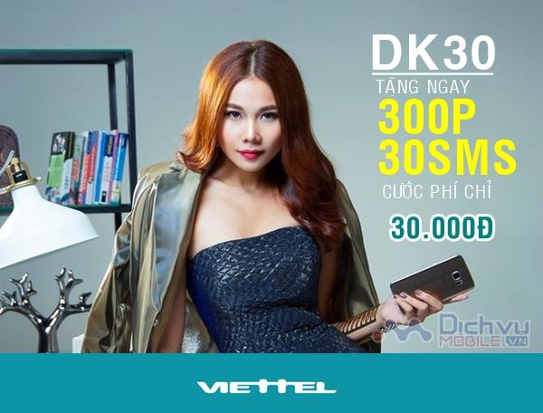 Đăng ký gói DK30 Viettel nhận 300 phút thoại, 30 tin nhắn chỉ 30,000đ