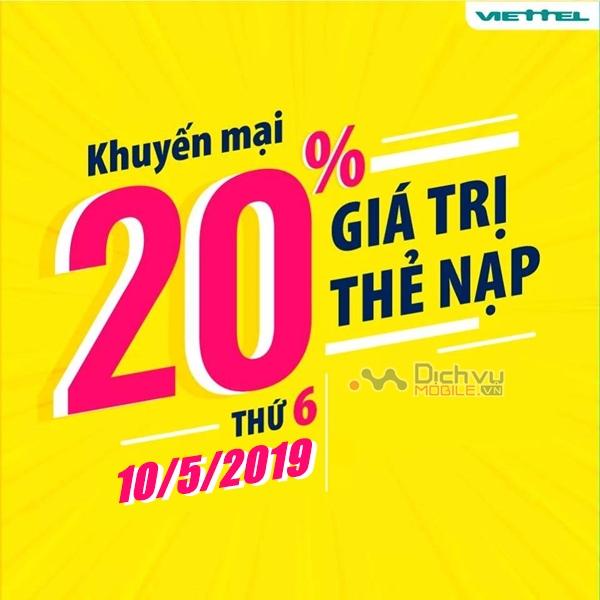 Viettel khuyến mãi ngày vàng: Tặng 20% giá trị thẻ nạp duy nhất 10/5/2019