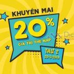 Viettel khuyến mãi tặng 20% giá trị thẻ nạp ngày 20/5/2019