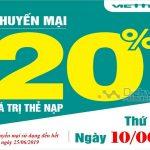 Viettel khuyến mãi tặng 20% giá trị thẻ nạp duy nhất ngày 10/6/2019
