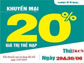 Viettel khuyến mãi 20% giá trị thẻ nạp ngày 29-30/6/2019